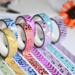 10 PCS Masking Tape Sticker DIY Self Adhesive Glitter Washi