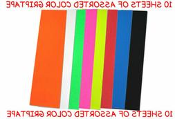 10 SHEETS OF PRO SKATEBOARD GRIP TAPE Assorted Colors
