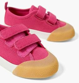 100% COTTON  SNEAKERS WITH GRIP TAPE STRAPS TODDLER SIZE 6½