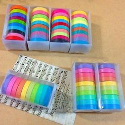 10x Colorful Masking Adhesive Tape Scrapbooking Rainbow Wash