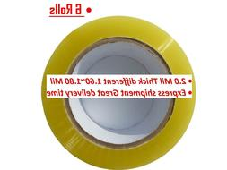 6 Rolls Clear Packing Packaging Carton Sealing Tape 2.0 Mil
