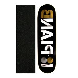 "Plan B 8.75"" Overlap Black/Gold Skateboard Deck With Grip Ta"