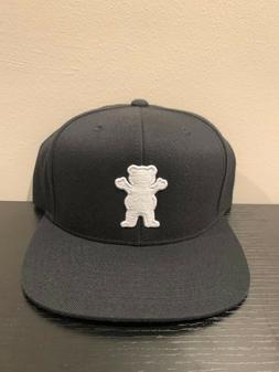 Grizzly Griptape Bear Black Snapback Hat New OSFM Cap Skate