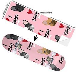 I Love French Bulldogs Pink Skateboard Stickers Decal Non Fa
