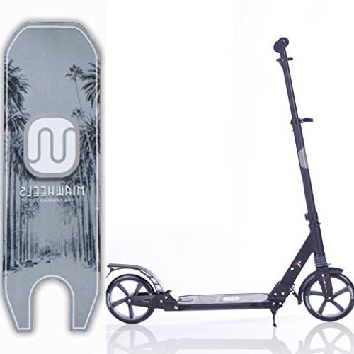 MIAWHEELS Black/Gray Adjustable Foldable + Suspension+ Long Rear Brake, Kick