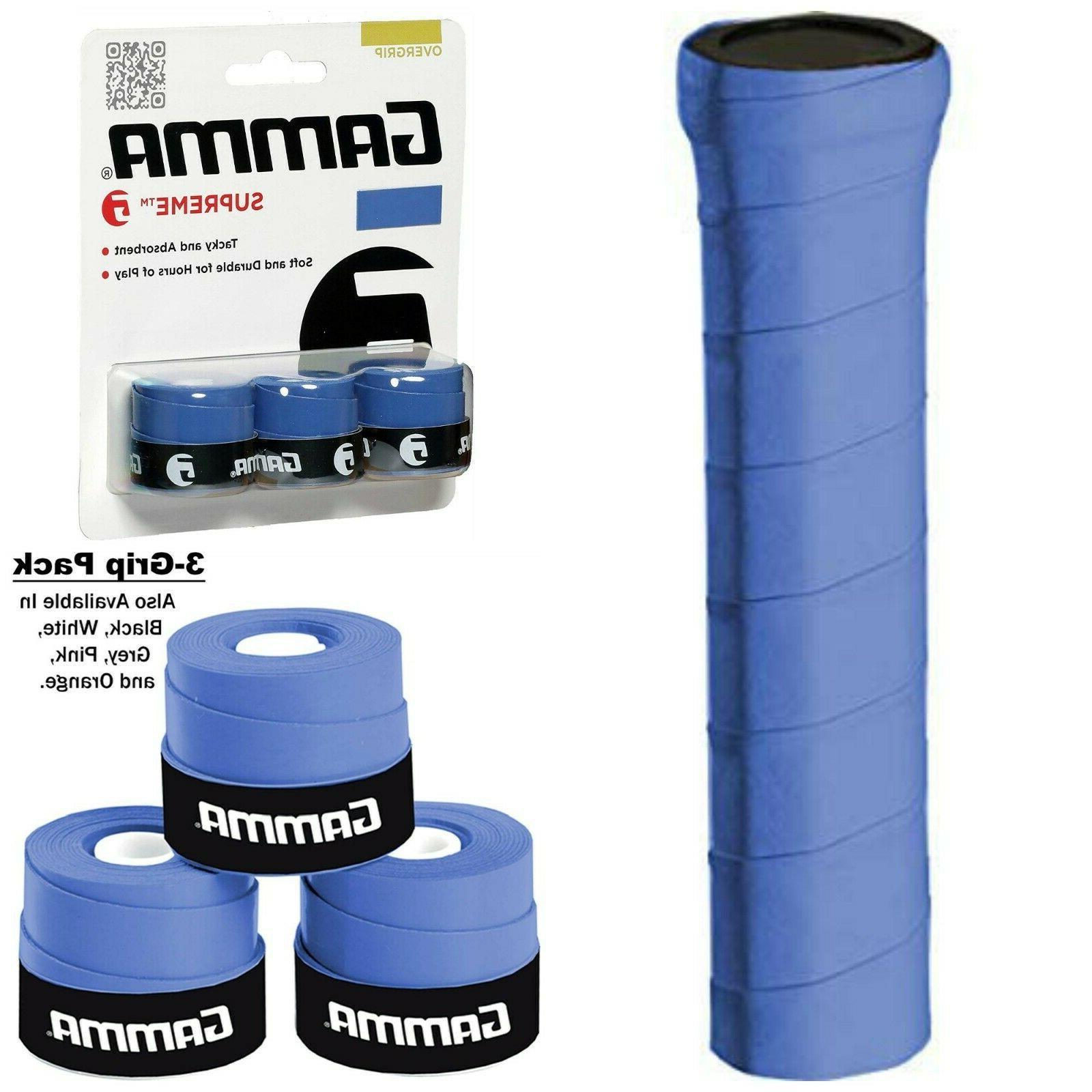 gamma supreme overgrip blue 3 pack tennis