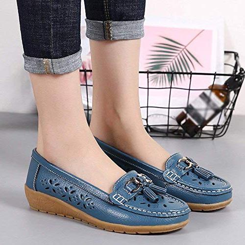 GWshop Fashion Womens Girl Leather Round Toe Casual Shoes Blue