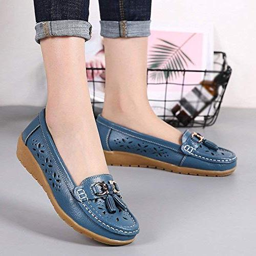 GWshop Fashion Womens Leather Round Toe Moccasins Casual Shoes