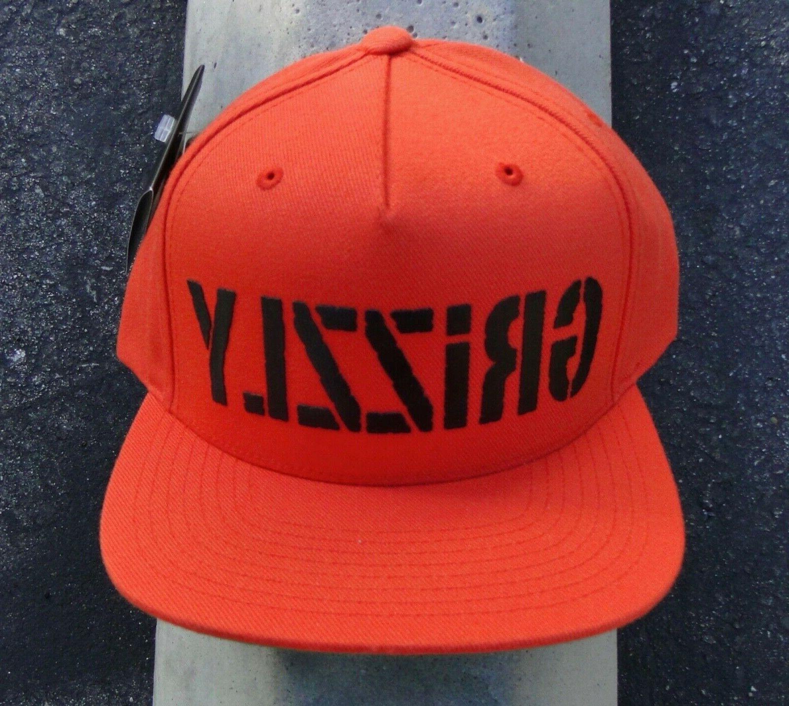 New Grizzly Grip tape Hd Stamp Logo Orange Snapback Hat HTDM