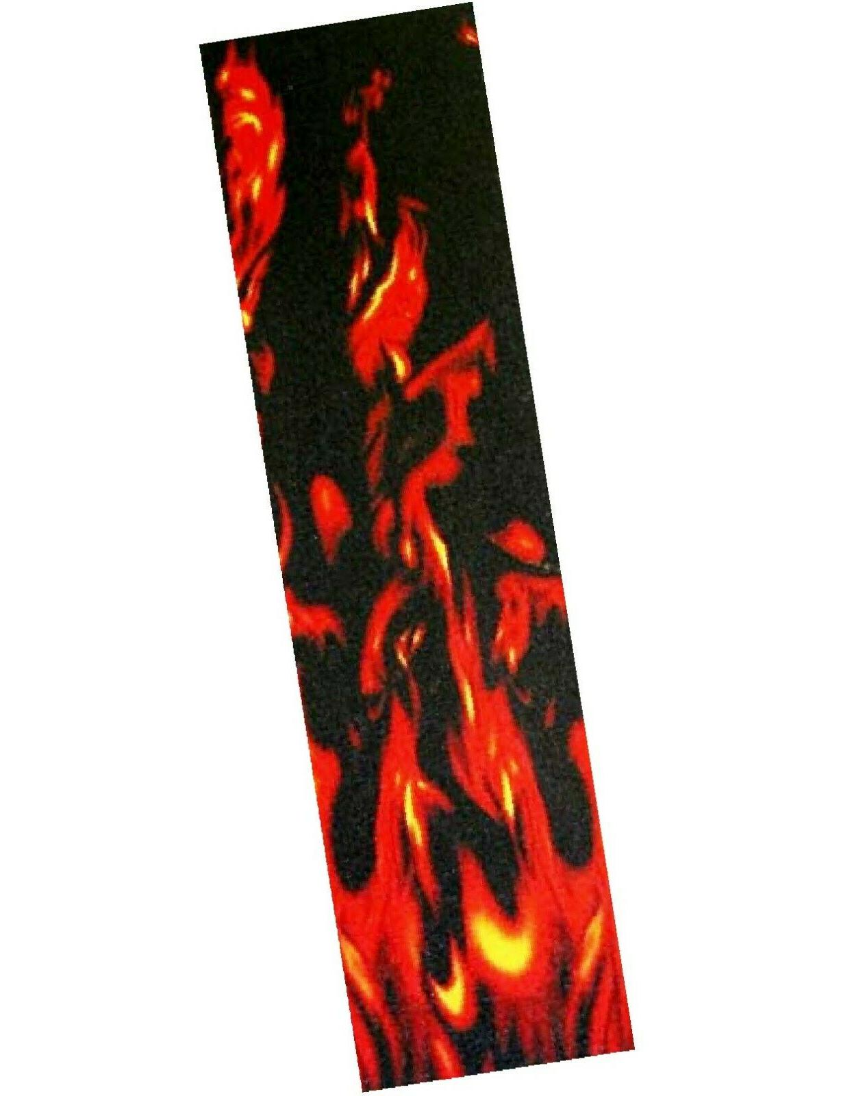 pro skateboard grip tape with flame graphic