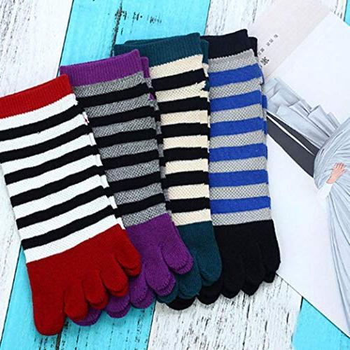 Socks, Cotton Toe Striped Colorful Five