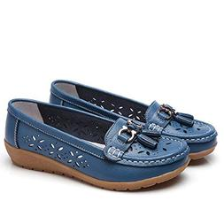 GWshop Fashion Womens Girl Leather Loafers Casual Wedges Rou
