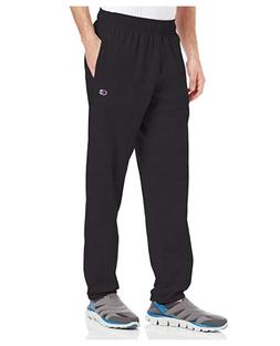 Hanes P7310 Mens Closed Bottom Jersey Pants, Black - Large