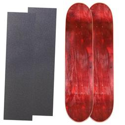 "Cal 7 Pack of 2 Maple 8.0"" Skateboard Deck Red/ Red with Gri"