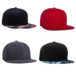 Plain Snapback Cap Hat for Men&Women Flat Brim Hip-hop Cap b