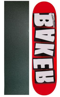 BAKER SKATEBOARD DECK Brand Logo White 8.125' with GRIPTAPE