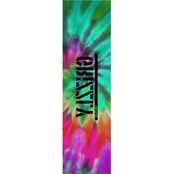 "Grizzly Grip Tape Stamp Print In Tie-Dye Grip Tape - 9"" x 33"