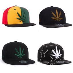 Marijuana Leaf Weed Snapback Cap Cannabis Embroidered Flat B